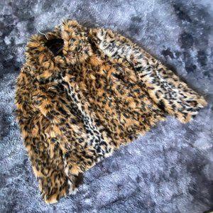 Lanshifei Faux Fur Leopard Coat